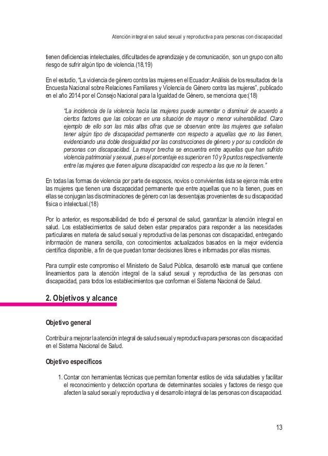 Atención integral en salud sexual y reproductiva para personas con discapacidad 13 tienen deficiencias intelectuales, difi...