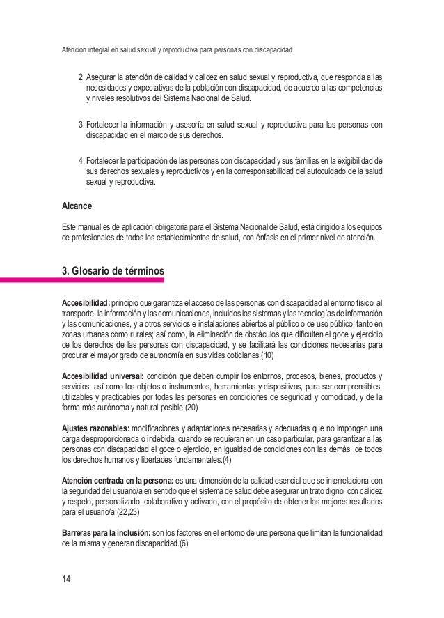 Atención integral en salud sexual y reproductiva para personas con discapacidad 14 2.Asegurar la atención de calidad y ca...
