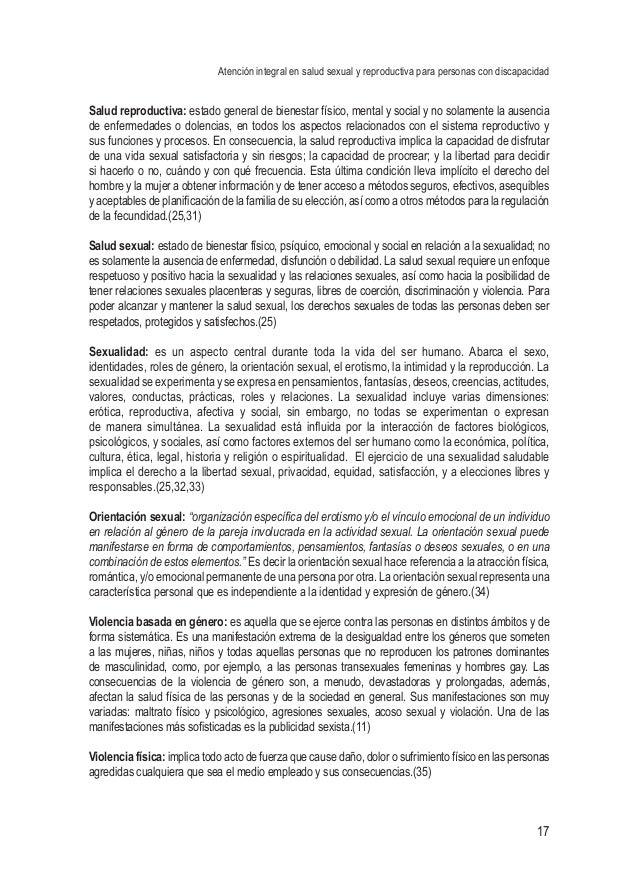 Atención integral en salud sexual y reproductiva para personas con discapacidad 17 Salud reproductiva: estado general de b...