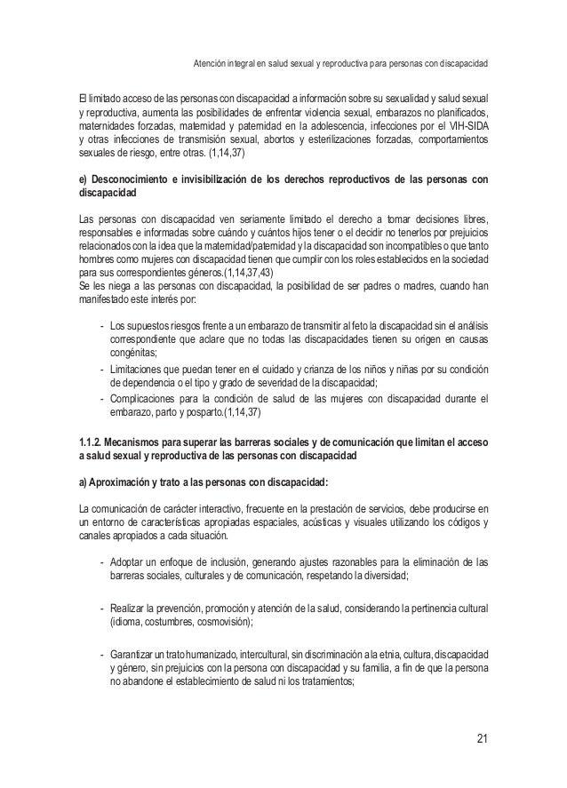Atención integral en salud sexual y reproductiva para personas con discapacidad 21 El limitado acceso de las personas con ...