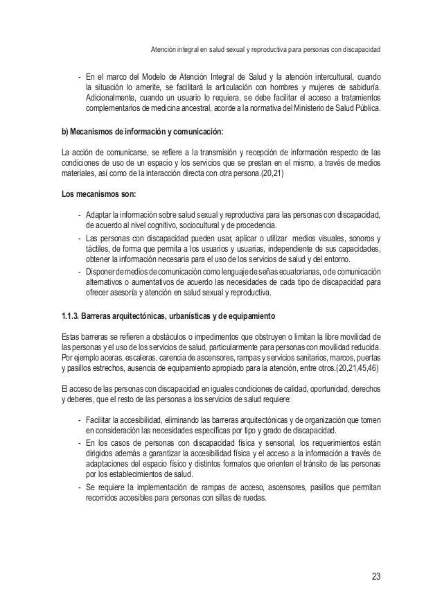 Atención integral en salud sexual y reproductiva para personas con discapacidad 23 - En el marco del Modelo de Atención I...