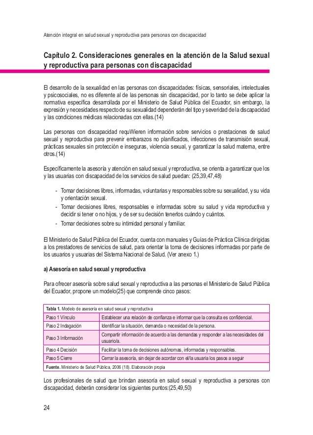 Atención integral en salud sexual y reproductiva para personas con discapacidad 24 Capítulo 2. Consideraciones generales e...