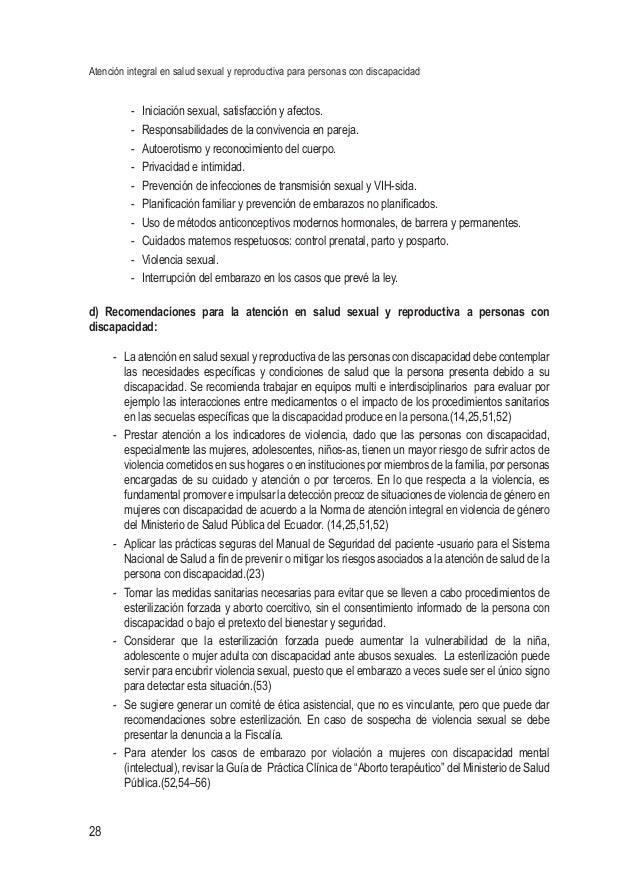 Atención integral en salud sexual y reproductiva para personas con discapacidad 28 - Iniciación sexual, satisfacción y af...
