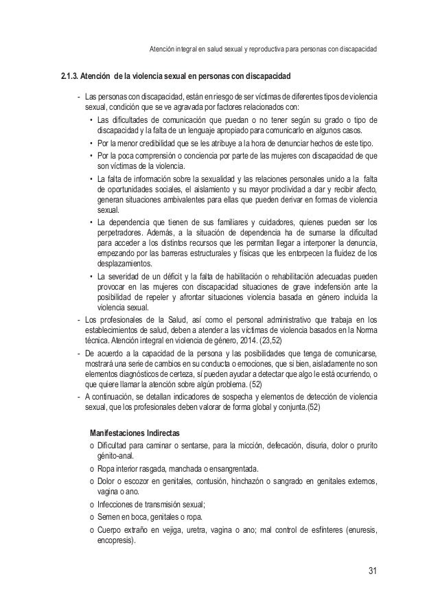 Atención integral en salud sexual y reproductiva para personas con discapacidad 31 2.1.3. Atención de la violencia sexual ...