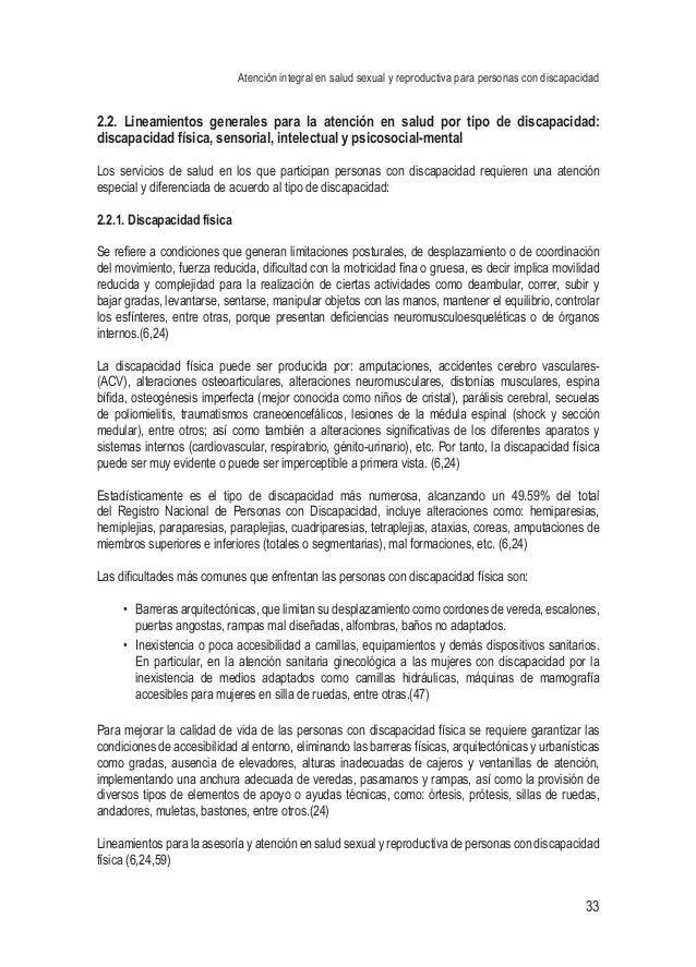 Atención integral en salud sexual y reproductiva para personas con discapacidad 33 2.2. Lineamientos generales para la ate...