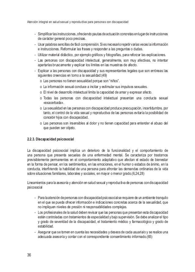 Atención integral en salud sexual y reproductiva para personas con discapacidad 36 - Simplificarlasinstrucciones,ofrecien...