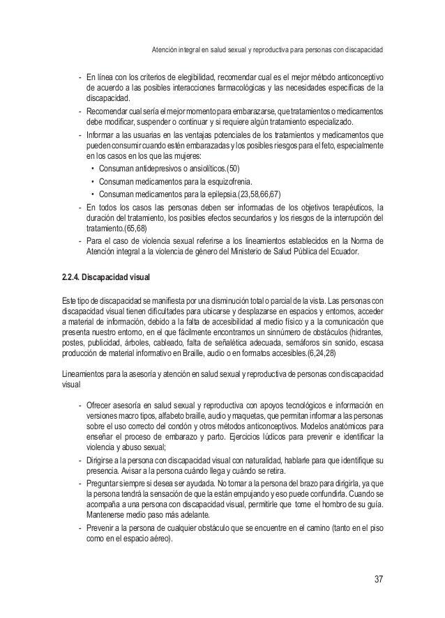 Atención integral en salud sexual y reproductiva para personas con discapacidad 37 - En línea con los criterios de elegib...