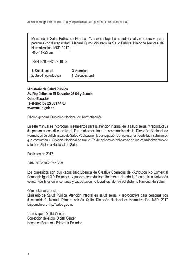Atención integral en salud sexual y reproductiva para personas con discapacidad 2 Ministerio de Salud Pública del Ecuador,...