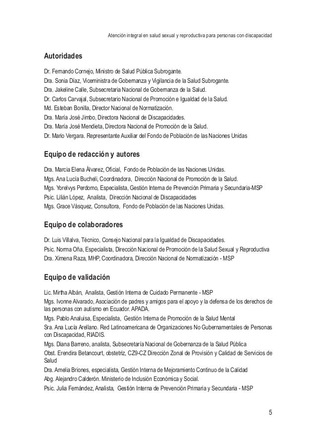 Atención integral en salud sexual y reproductiva para personas con discapacidad 5 Autoridades Dr. Fernando Cornejo, Minist...