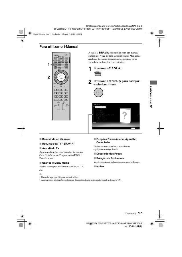 Manual tv-sony-bravia-kdl-40 ex605