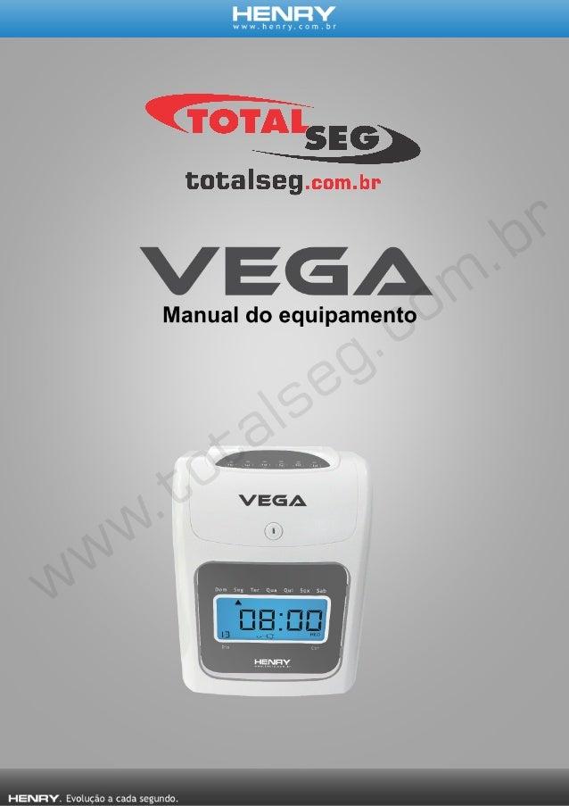 INTRODUÇÃO O Vega é um relógio ponto cartográfico, com impressão mecânica, usado para registrar cartões ponto, podendo reg...