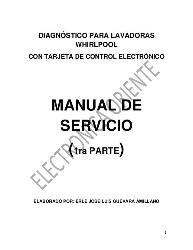 Manual de reparacion lavadora whirlpool cabrio