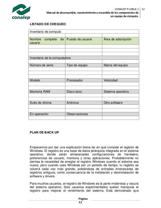 Manual de desensamble, mantenimiento y ensamble de los ... - photo#47