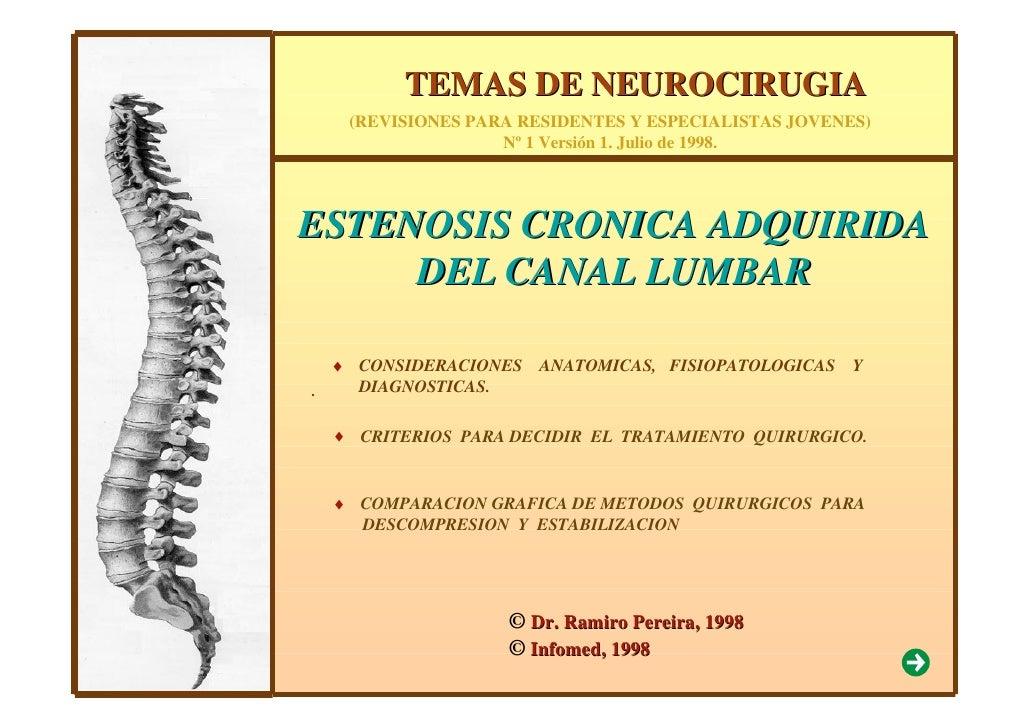 TEMAS DE NEUROCIRUGIA      (REVISIONES PARA RESIDENTES Y ESPECIALISTAS JOVENES)                     Nº 1 Versión 1. Julio ...