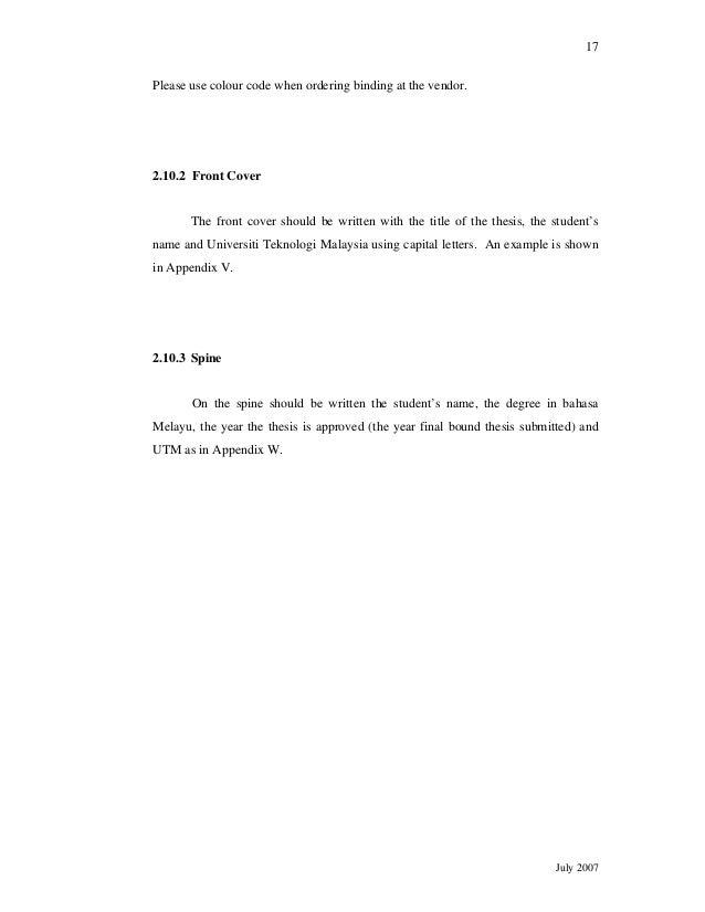 panduan thesis utm 2007