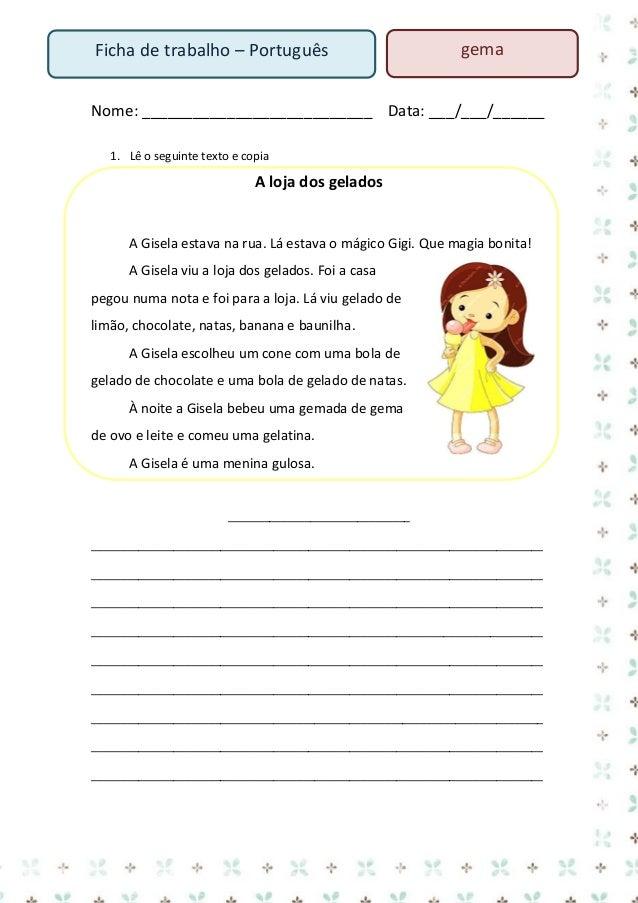 rato  Ficha de trabalho – Português  Nome: ___________________________ Data: ___/___/______  rato ra to  rato ra to