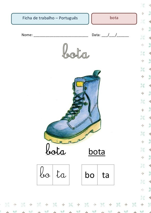 11. Pinta a palavra bota de azul  menino  bota  sapato  bota  menina  menino  mamã  bota  sapato  cadeira  12.  no  ta  bo...