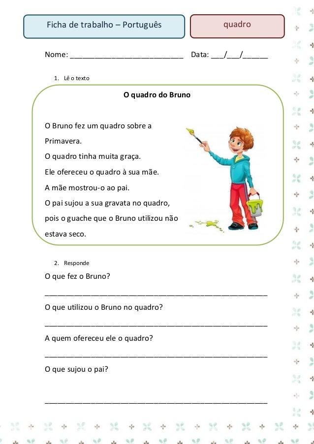 Ficha de trabalho – Português  passarinho  Nome: ___________________________ Data: ___/___/______ 1. Lê o texto  A Vanessa...