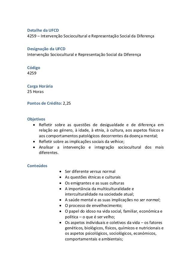 UFCD 4259 - Intervenção Sociocultural e Representação Social da Diferença Slide 2
