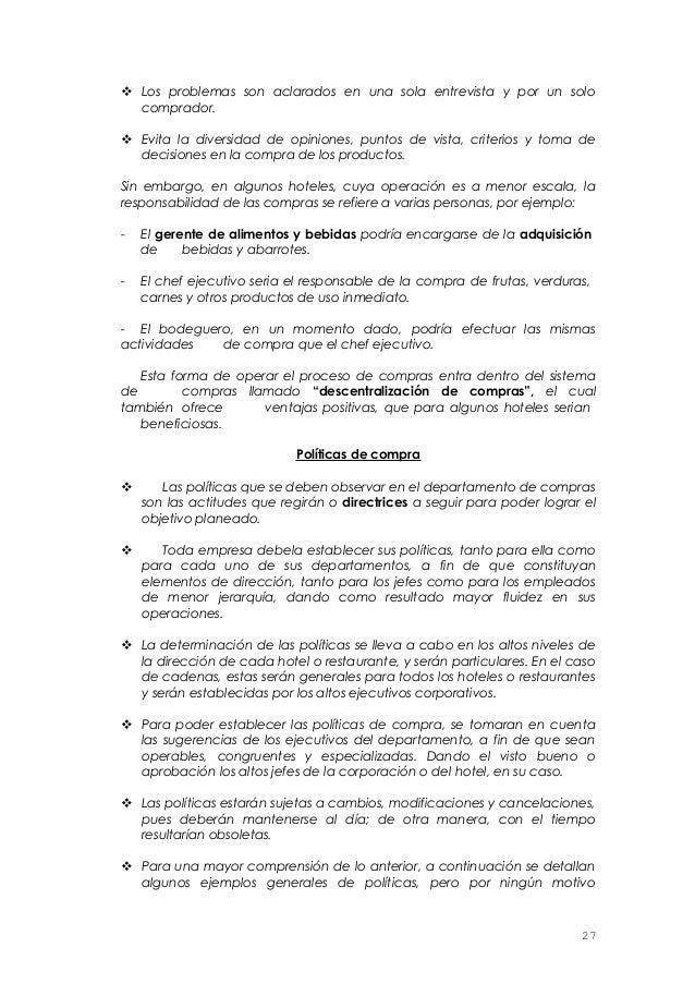 Manual abastecimiento for Manual de procedimientos de alimentos y bebidas de un hotel