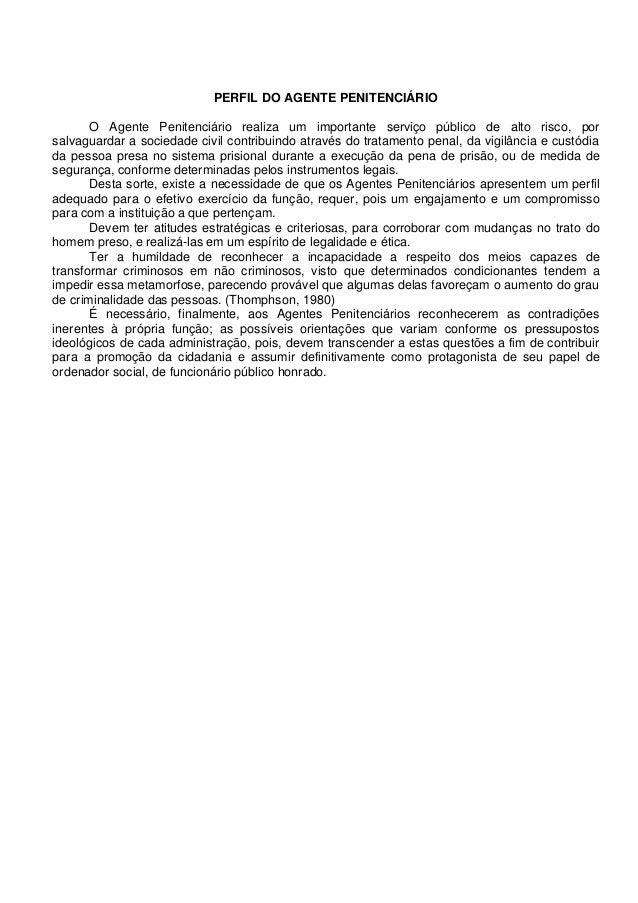 PERFIL DO AGENTE PENITENCIÁRIO O Agente Penitenciário realiza um importante serviço público de alto risco, por salvaguarda...