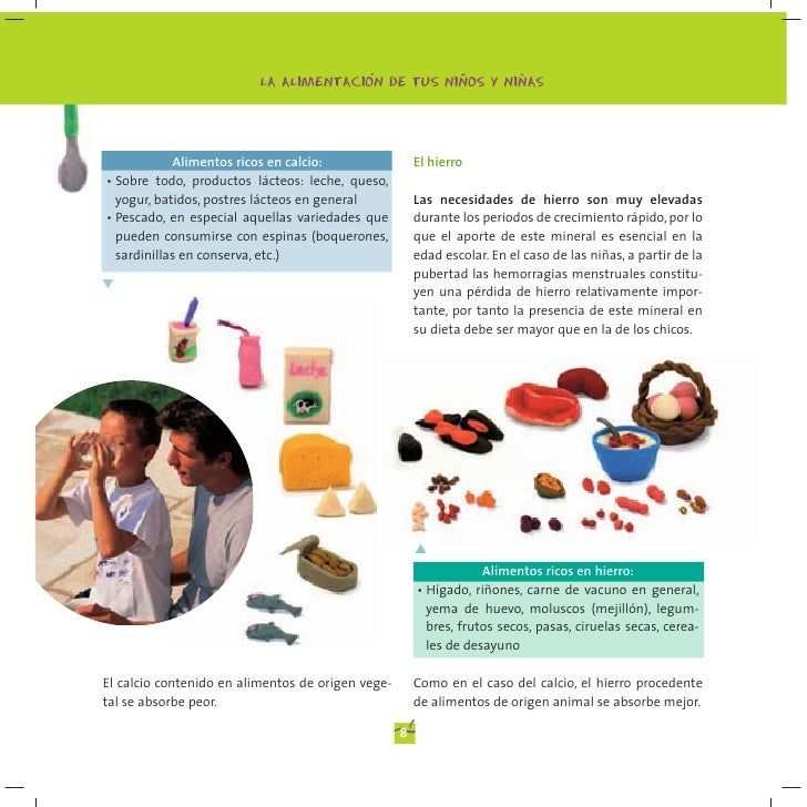 Manual de alimentaci n para ni os y ni as ministerio de sanidad espa - Alimentos ricos en calcio y hierro ...