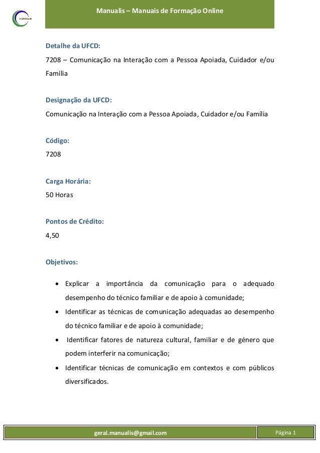 UFCD 7208 - Comunicação na Interação com a Pessoa Apoiada, Cuidador, Família Slide 2