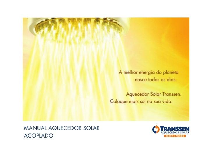 MANUAL AQUECEDOR SOLARACOPLADO