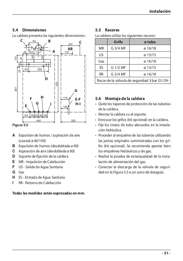 caldera ariston manual de uso