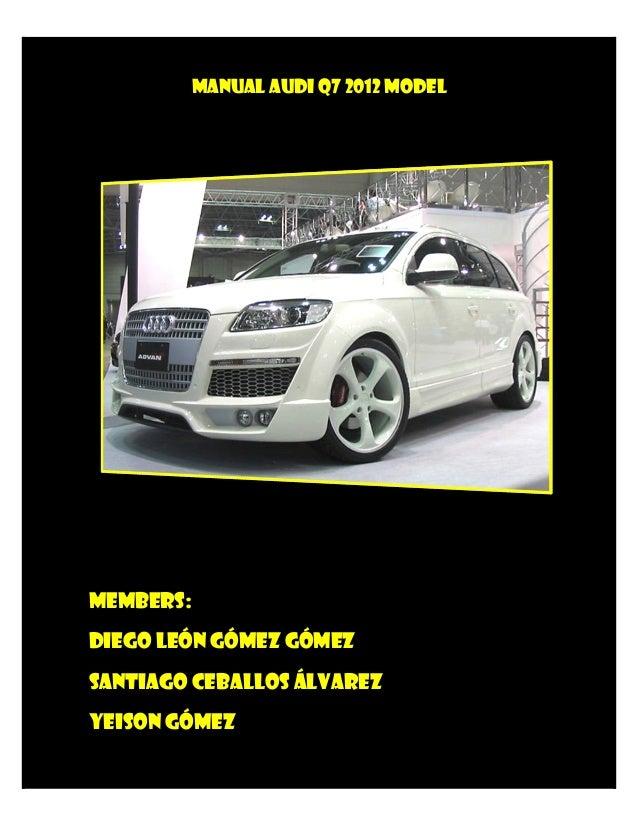 Manual Audi Q7 2012 Model Manual Guide