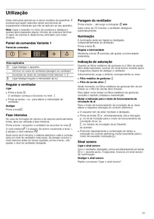 21 Utilização Estas instruções aplicam-se a vários modelos de aparelhos. É possível que sejam descritos vários pormenores ...