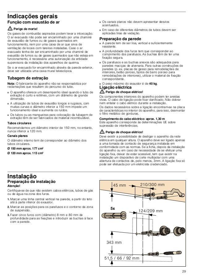 29 Indicações gerais Função com exaustão de ar : Perigo de morte! Os gases de combustão aspirados podem levar a intoxicaçã...