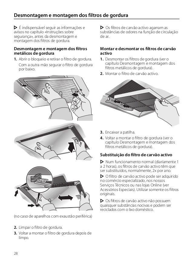 28 Desmontagem e montagem dos filtros de gordura Os filtros de carvão activo agarram as substâncias de odores na função de...