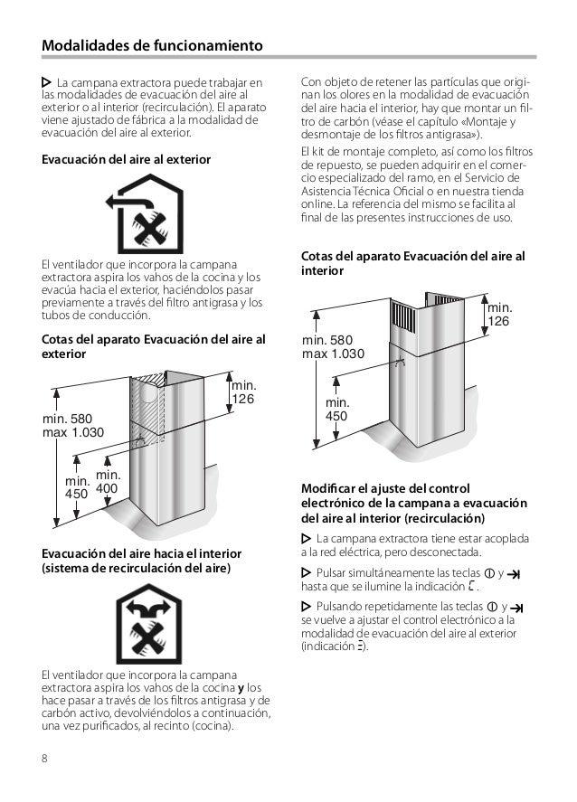 8 Modalidades de funcionamiento Con objeto de retener las partículas que origi- nan los olores en la modalidad de evacuaci...