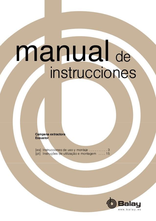 [es] Instrucciones de uso y montaje . . . . . . . . . . 3 [pt] Instruções de utilização e montagem . . . . 15 Campana extr...