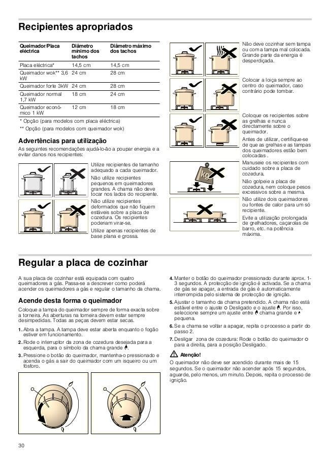 31 Tabela - Cozinhar Escolha o tamanho da panela adequado para cada zona de cozedura. O diâmetro do fundo das panelas ou f...