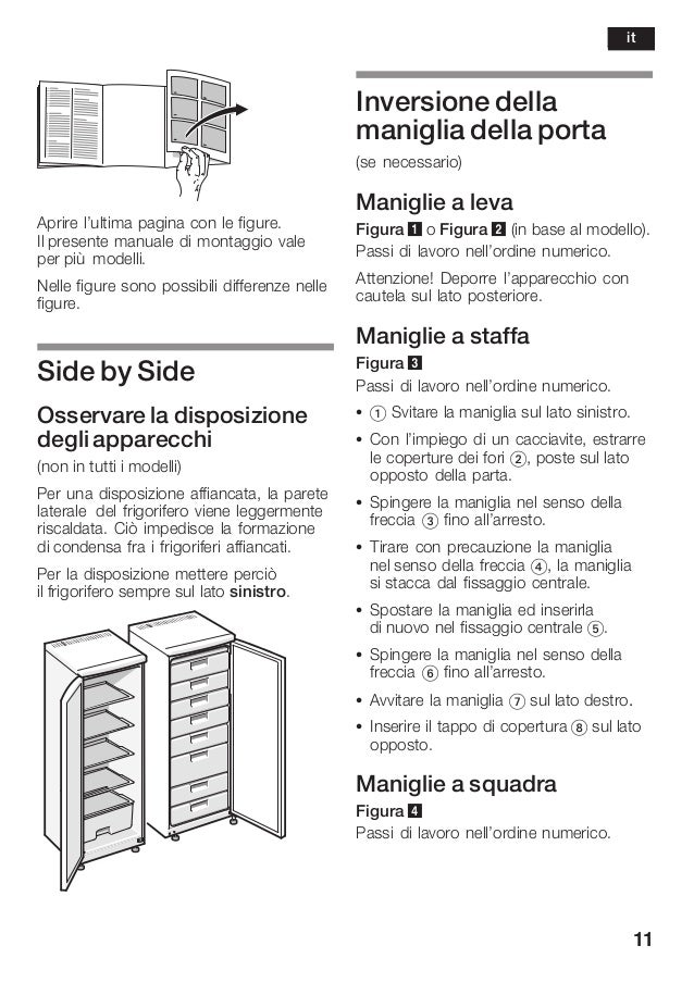 11 Aprire l'ultima pagina con le figure. Il presente manuale di montaggio vale per più modelli. Nelle figure sono possibil...