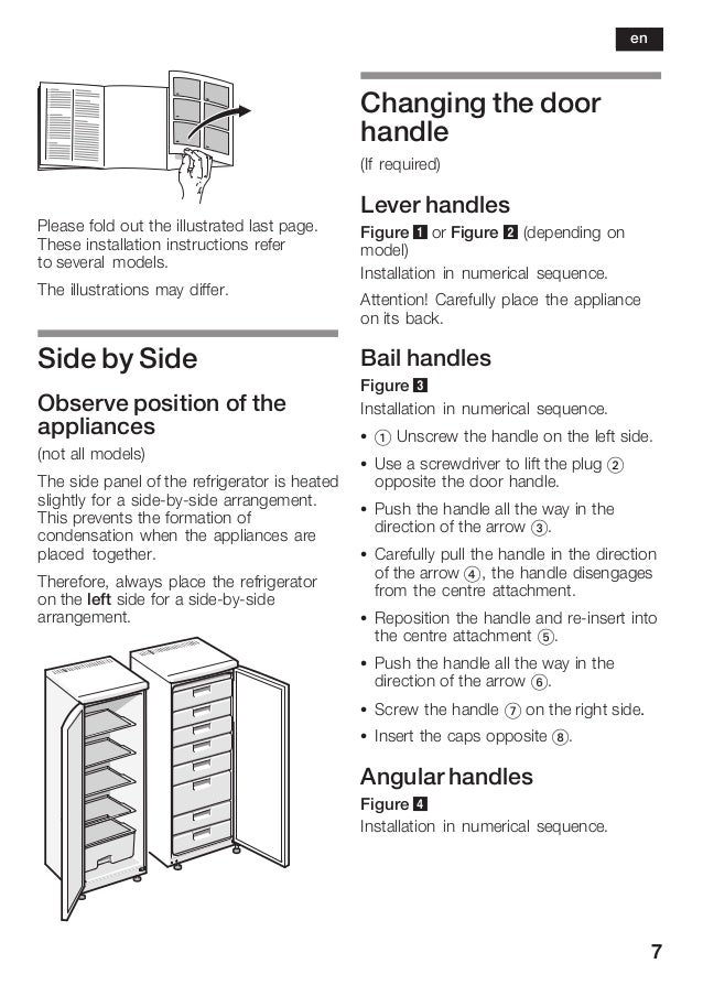 7 Please fold out the illustrated last page. These installation instructions refer to several models. The illustrations ma...