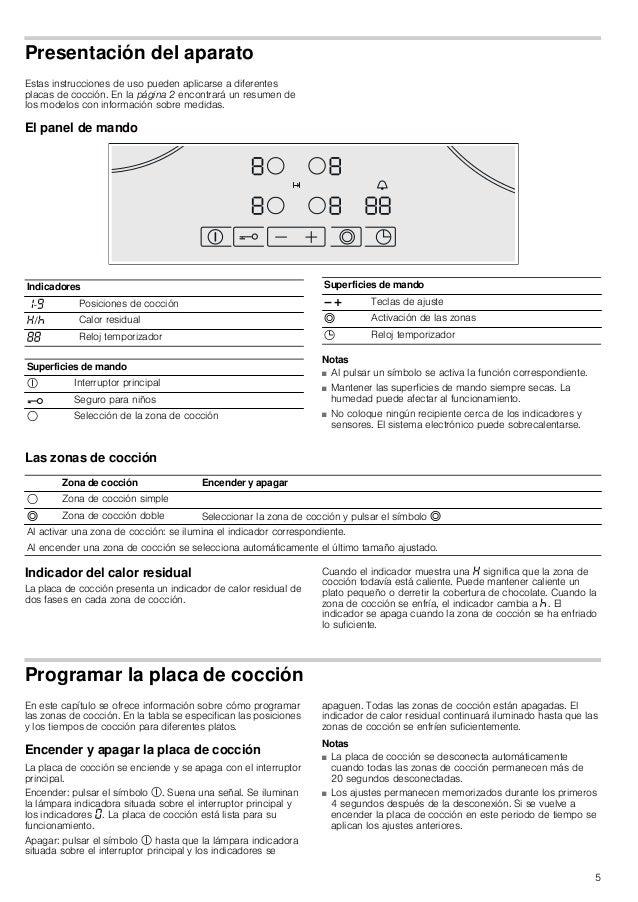 5 Presentación del aparato Estas instrucciones de uso pueden aplicarse a diferentes placas de cocción. En la página 2 enco...