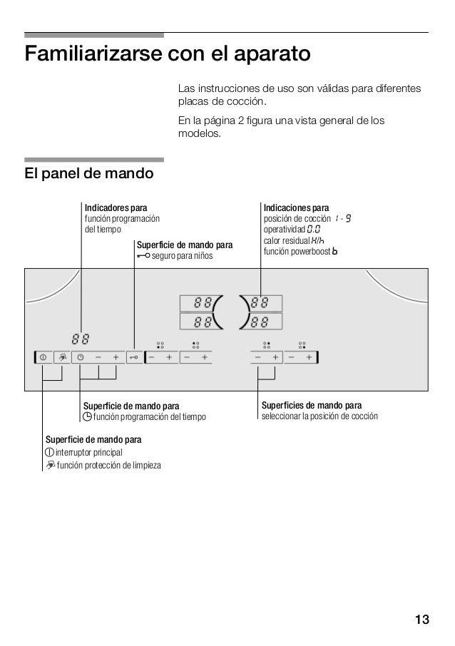 14 Zona de cocción Activar y desactivar Ę Zona de cocción simple Utilizar un recipiente del tamaño adecuado. m Zona de asa...