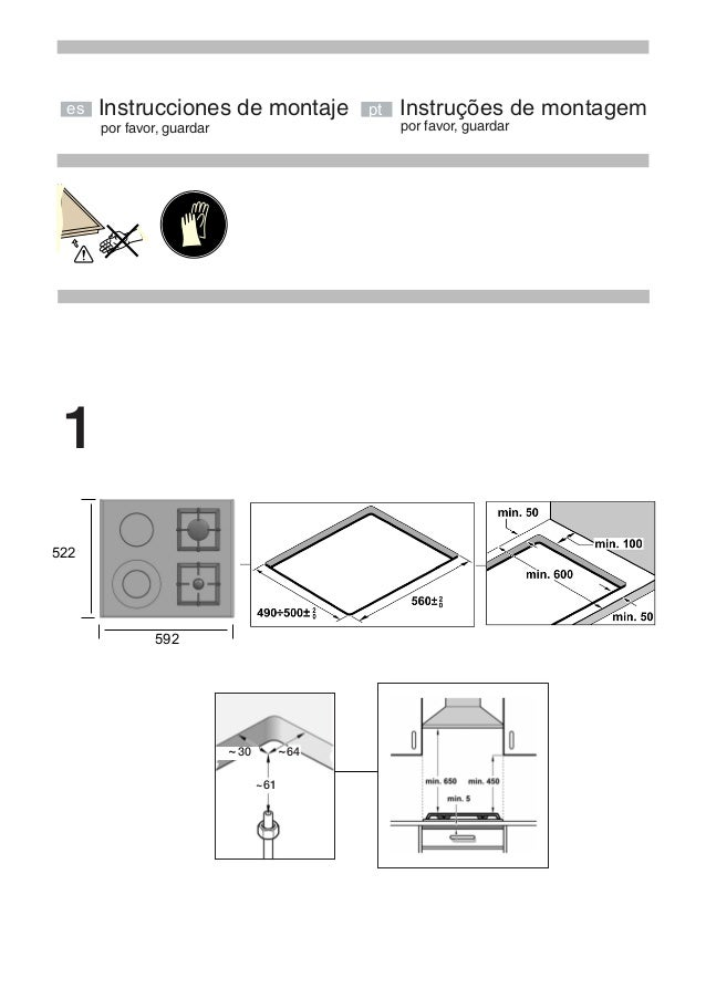 por favor, guardar Instrucciones de montaje 522 592 es 30~ ~64 ~61 por favor, guardar pt Instruções de montagem 1