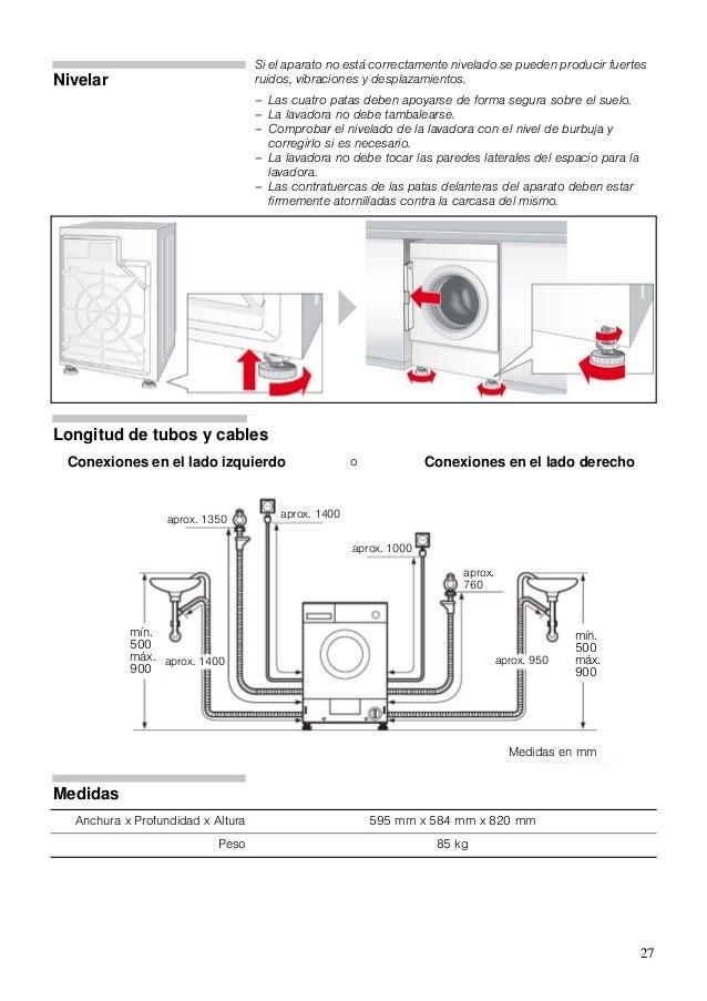 Manual balay lavadora 3tw64560a for Medidas de lavadoras