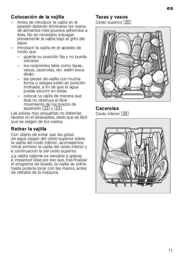 es 11 Colocación de la vajilla – Antes de introducir la vajilla en el aparato deberán eliminarse los restos de alimentos m...
