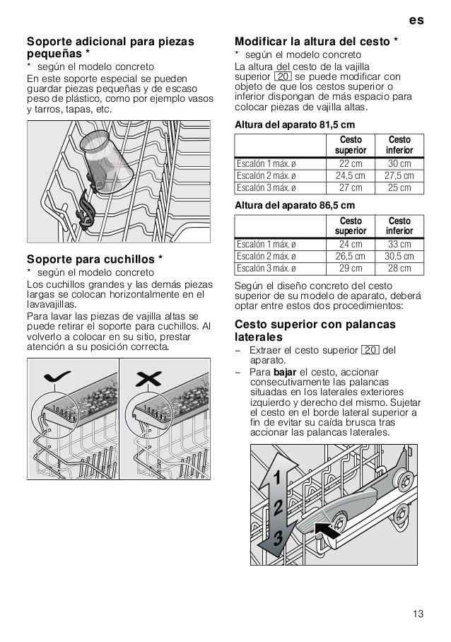 es 13 Soporte adicional para piezas pequeñas * * según el modelo concreto En este soporte especial se pueden guardar pieza...
