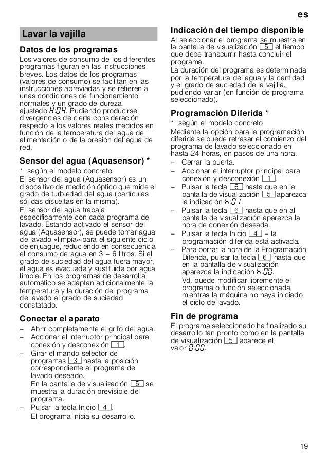 es 19 Datos de los programas Los valores de consumo de los diferentes programas figuran en las instrucciones breves. Los d...