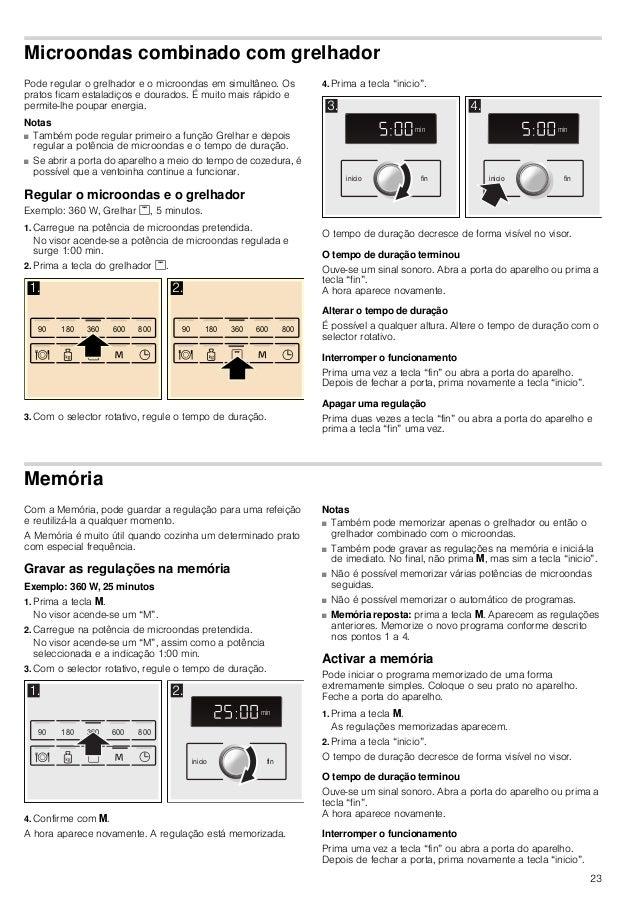 23 Microondas combinado com grelhador Pode regular o grelhador e o microondas em simultâneo. Os pratos ficam estaladiços e...