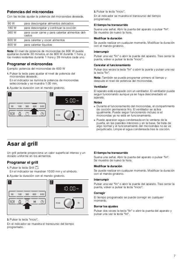 7 Potencias del microondas Con las teclas ajustar la potencia del microondas deseada. Nota: El nivel de potencia de microo...