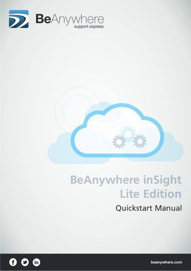 beanywhere.comQuickstart ManualBeAnywhere inSightLite Edition