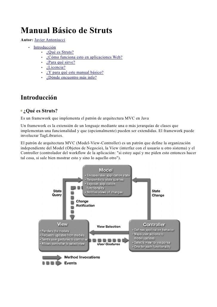 Manual Básico de Struts Autor: Javier Antoniucci     •   Introducción              • ¿Qué es Struts?              • ¿Cómo ...