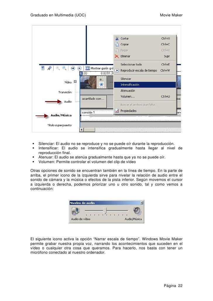 Graduado en Multimedia (UOC)                                               Movie Maker   Esta es la pantalla que nos apare...